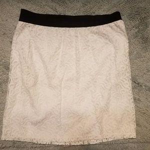 New York and Company white lace skirt medium